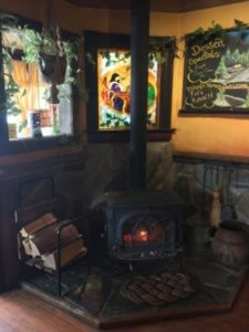 Yellow Deli Nelson BC fireplace interior